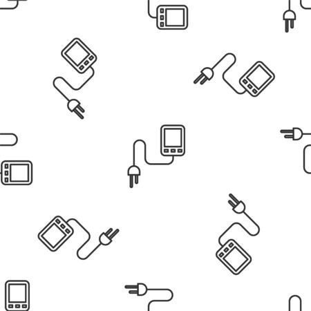 Grey line Sensor icon isolated seamless pattern on white background. Vector Illustration