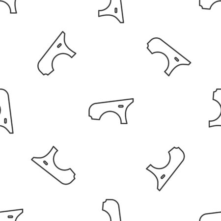 Grey line Car fender icon isolated seamless pattern on white background. Vector Illustration