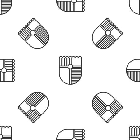 Grey line Shield for game icon isolated seamless pattern on white background. Vector Illustration Ilustrace