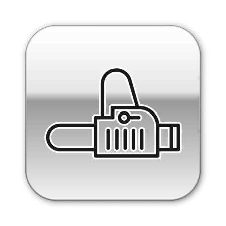 Black line Chainsaw icon isolated on white background. Silver square button. Vector Illustration