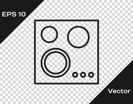 Black line Gas stove icon isolated on transparent background. Cooktop sign. Hob with four circle burners. Vector Illustration