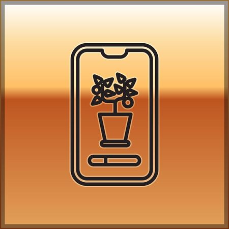 Black line Smart control farming system mobile application icon isolated on gold background. Vector Illustration