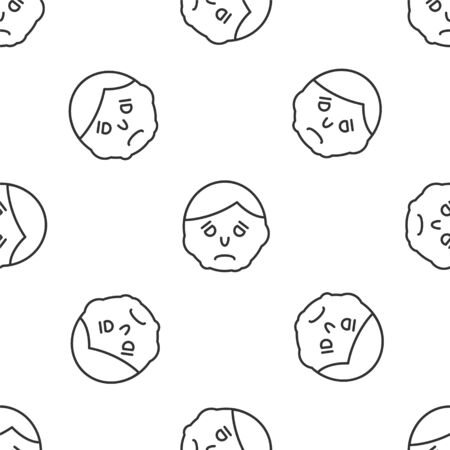 Grey line Inflammation on face icon isolated seamless pattern on white background. Vector Illustration