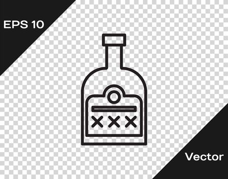 Black line Alcohol drink Rum bottle icon isolated on transparent background. Vector Illustration