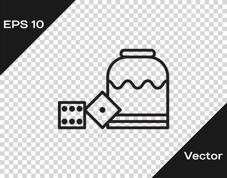 Black line Pirate game dice icon isolated on transparent background. Casino gambling. Vector Illustration