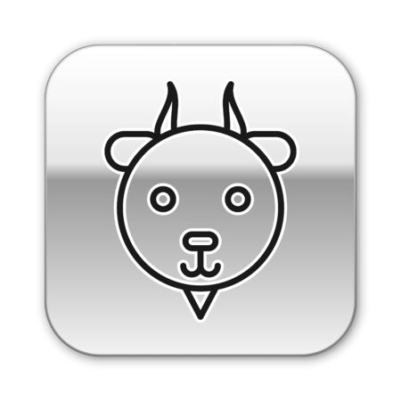 Black line Aries zodiac sign icon isolated on white background. Astrological horoscope collection. Silver square button. Vector Illustration