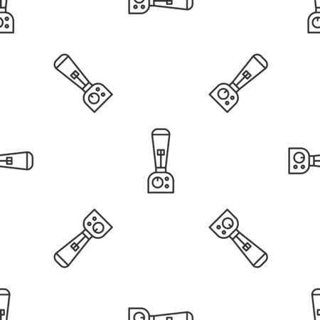 Grey line Blender icon isolated seamless pattern on white background. Kitchen electric stationary blender with bowl. Cooking smoothies, cocktail or juice. Vector Illustration