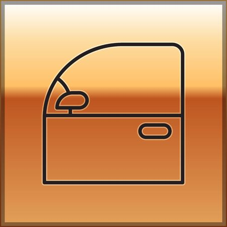Black line Car door icon isolated on gold background. Vector Illustration
