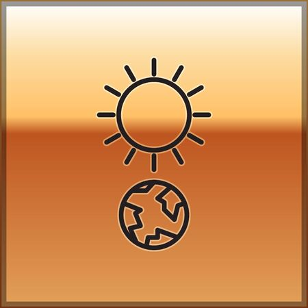Black line Solstice icon isolated on gold background. Vector Illustration