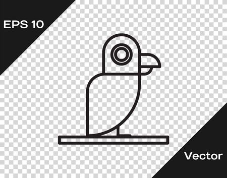 Black line Pirate parrot icon isolated on transparent background. Vector Illustration Illustration