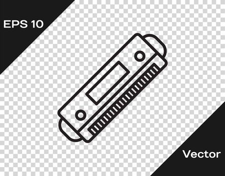Black line Harmonica icon isolated on transparent background. Musical instrument. Vector Illustration