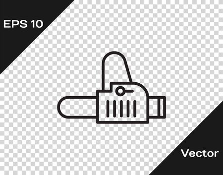 Black line Chainsaw icon isolated on transparent background. Vector Illustration