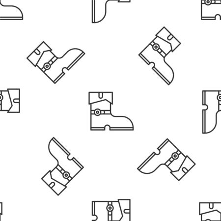 Grey line Leather pirate boots icon isolated seamless pattern on white background. Vector Illustration