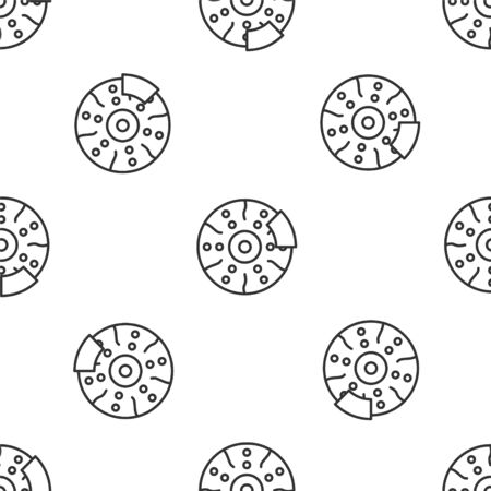 Grey line Car brake disk with caliper icon isolated seamless pattern on white background. Vector Illustration Vectores