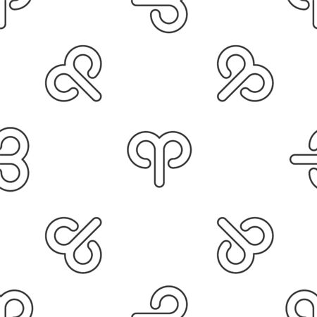 Grey line Aries zodiac sign icon isolated seamless pattern on white background. Astrological horoscope collection. Vector Illustration Illustration
