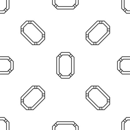 Grey line Poker table icon isolated seamless pattern on white background. Vector Illustration
