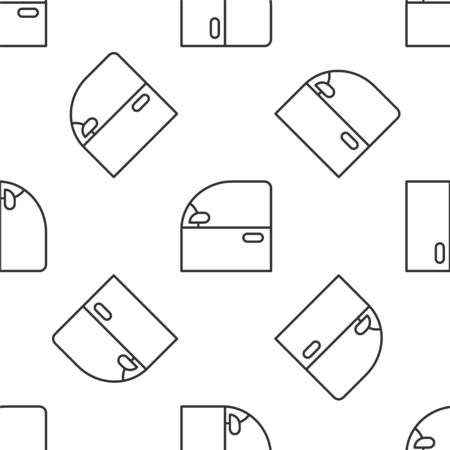 Grey line Car door icon isolated seamless pattern on white background. Vector Illustration