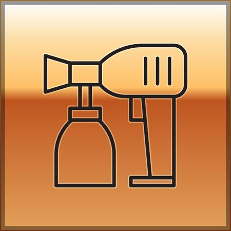 Black line Paint spray gun icon isolated on gold background. Vector Illustration