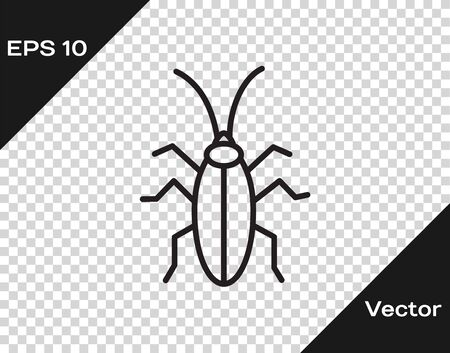 Black line Cockroach icon isolated on transparent background. Vector Illustration Illustration
