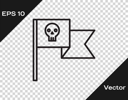 Black line Pirate flag with skull icon isolated on transparent background. Vector Illustration