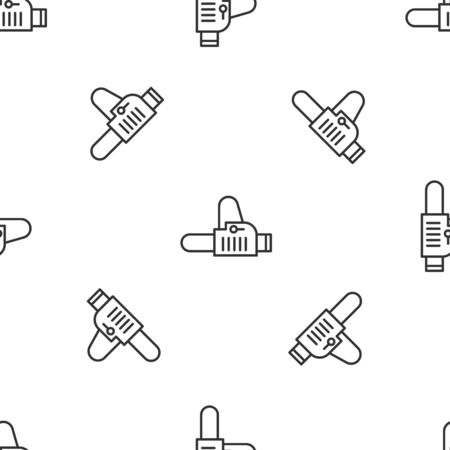 Grey line Chainsaw icon isolated seamless pattern on white background. Vector Illustration