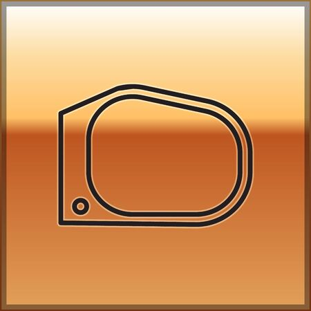 Black line Car mirror icon isolated on gold background. Vector Illustration Illustration