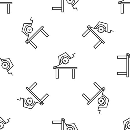 Grey line Table saw for woodwork icon isolated seamless pattern on white background. Power saw bench. Vector Illustration Illustration