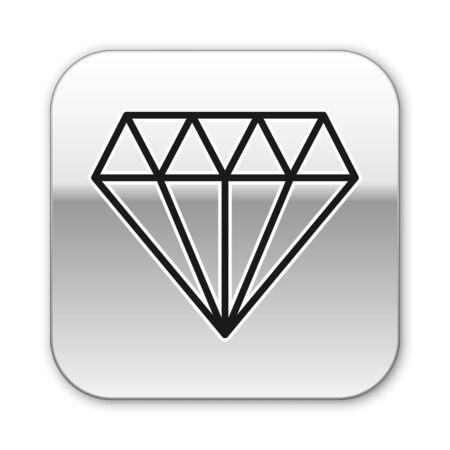 Black line Diamond icon isolated on white background. Jewelry symbol. Gem stone. Silver square button. Vector Illustration Illustration