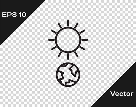 Black line Solstice icon isolated on transparent background. Vector Illustration
