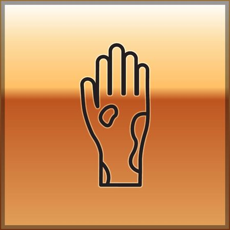 Black line Hand with psoriasis or eczema icon isolated on gold background. Concept of human skin response to allergen or chronic body problem. Vector Illustration