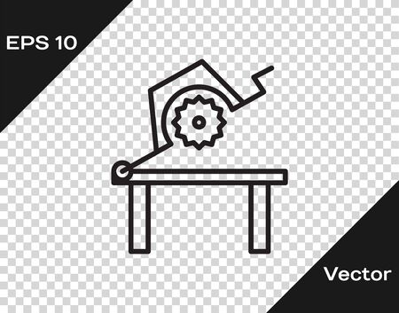 Black line Table saw for woodwork icon isolated on transparent background. Power saw bench. Vector Illustration
