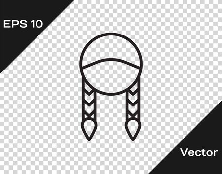 Black line Braid icon isolated on transparent background. Vector Illustration Иллюстрация