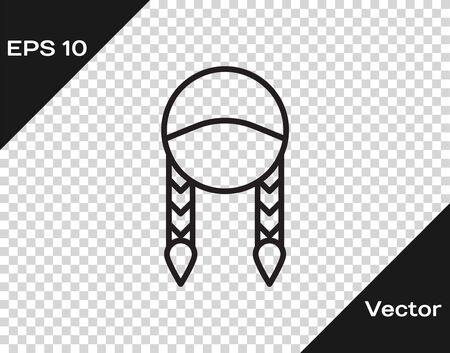 Black line Braid icon isolated on transparent background. Vector Illustration Çizim