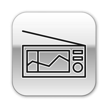 Ligne noire Radio avec icône d'antenne isolé sur fond blanc. Bouton carré argenté. Illustration vectorielle