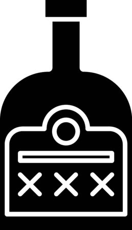 Black Alcohol drink Rum bottle icon isolated on white background. Vector Illustration
