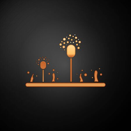Gold Mold icon isolated on black background. Vector Illustration