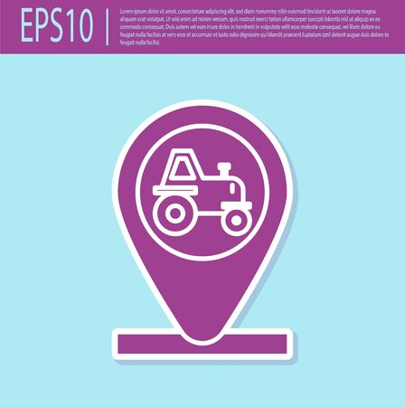 Retro purple Tractor and location icon isolated on turquoise background. Vector Illustration