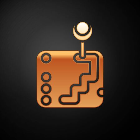 Gold Gear shifter icon isolated on black background. Transmission icon. Vector Illustration
