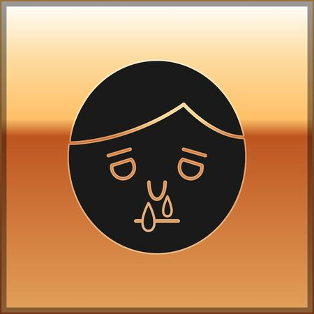 Black Runny nose icon isolated on gold background. Rhinitis symptoms, treatment. Nose and sneezing. Nasal diseases. Vector Illustration