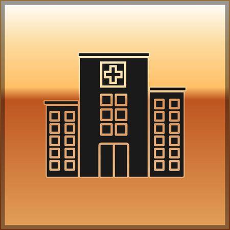 Schwarzes medizinisches Krankenhausgebäude mit Kreuzikone lokalisiert auf Goldgrund. Ärztezentrum. Gesundheitsvorsorge. Vektorillustration
