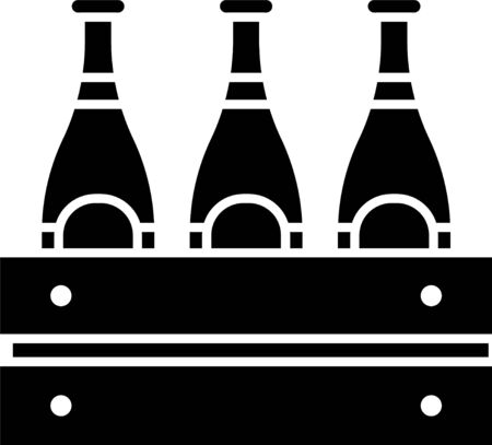 Black Pack of beer bottles icon isolated on white background. Wooden box and beer bottles. Case crate beer box sign. Vector Illustration
