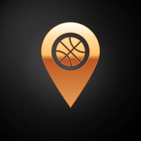 Gold Location with basketball ball inside icon isolated on black background. Vector Illustration