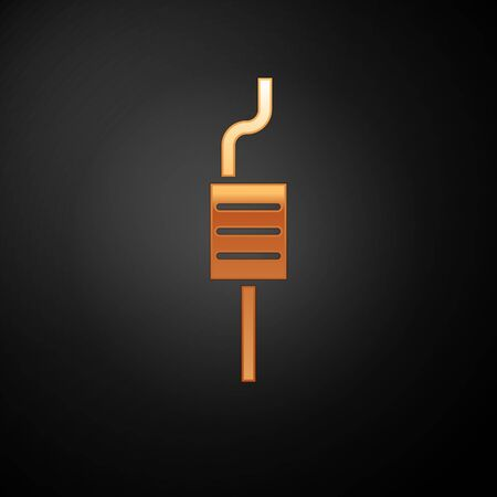 Gold Car muffler icon isolated on black background. Exhaust pipe. Vector Illustration