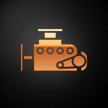 Gold Car engine icon isolated on black background. Vector Illustration