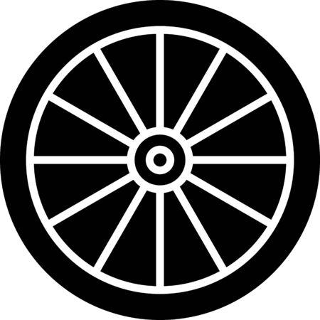 Schwarzes Autorad-Symbol isoliert auf weißem Hintergrund. Vektorillustration