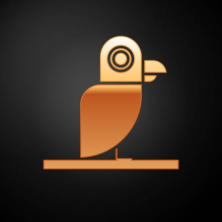 Gold Pirate parrot icon isolated on black background. Vector Illustration