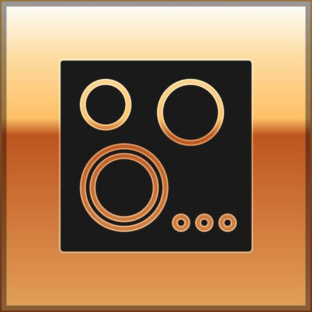Black Gas stove icon isolated on gold background. Cooktop sign. Hob with four circle burners. Vector Illustration
