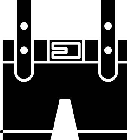 Black Lederhosen icon isolated on white background. Traditional bavarian clothing. Oktoberfest outfit. Pants with suspenders. Patrick day. Vector Illustration Illustration