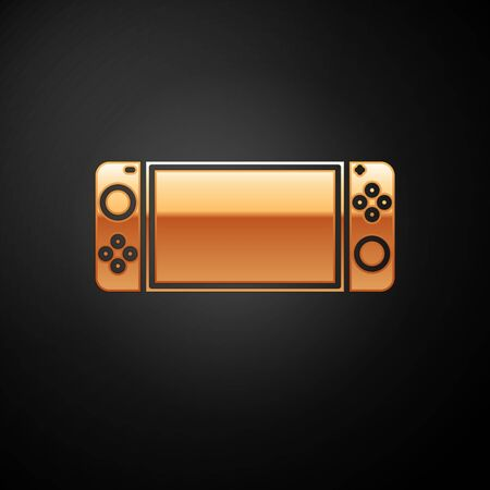 Gold Portable video game console icon isolated on black background. Gamepad sign. Gaming concept. Vector Illustration
