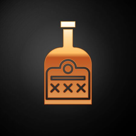 Gold Alcohol drink Rum bottle icon isolated on black background. Vector Illustration
